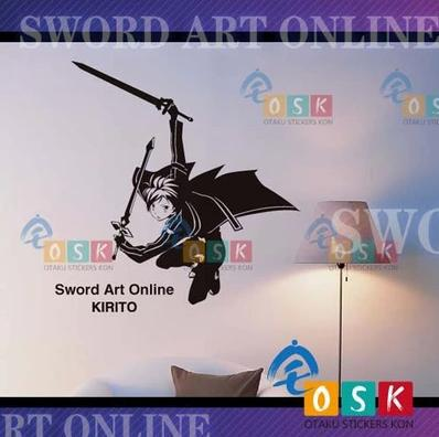 Car Sticker Japanese Cartoon Fans Sword Art Online SAO Kirito Vinyl Wall Stickers Decal Decor Home diy japanese cartoon car stickers animation drift sticker printing carving protection film car funny camouflage graffiti decals