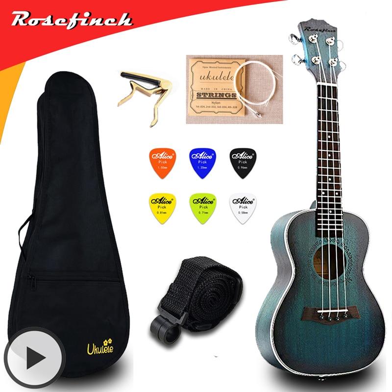 Concierto de 23 pulgadas Ukelele eléctrico Mini Guitarra Mahogany Ukelele con bolsa Capo String Strap Picks regalo Hawaii guitarra UKU UK2329A