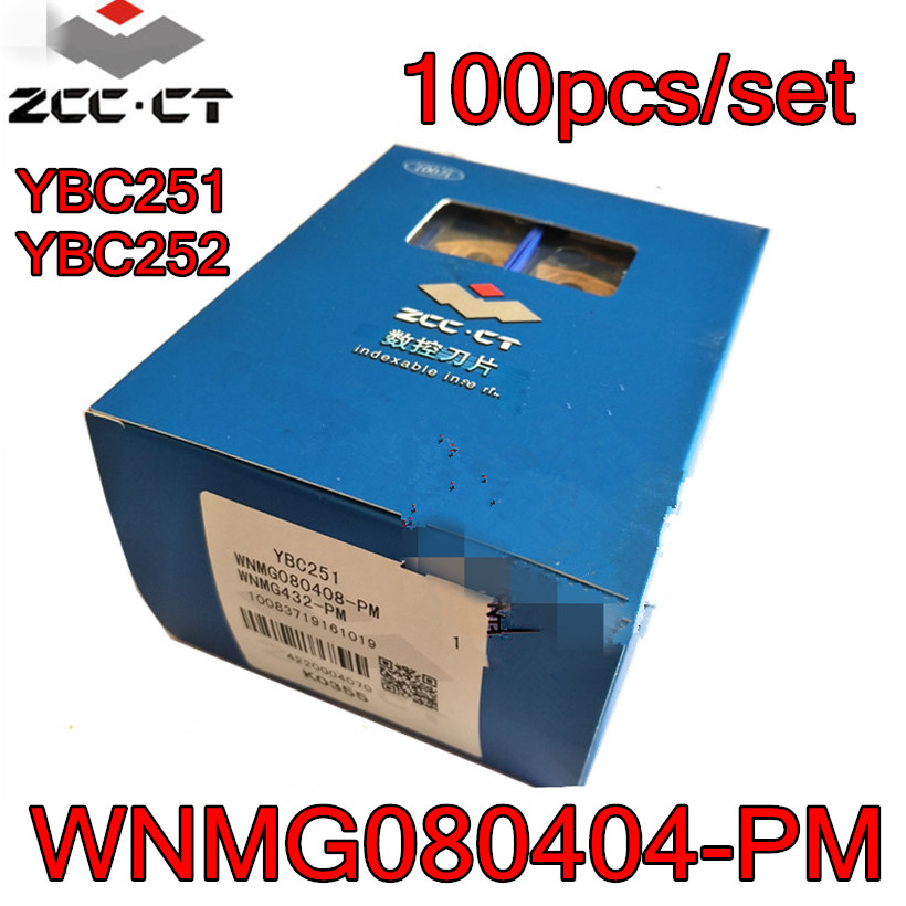 WNMG080404 PM YBC251 YBC252 100pcs set ZCC CT CNC Carbide insert Processing steel Free shipping