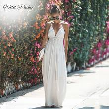 WildPinky Sexy Hollow Out White Lace Dress Women Summer High Waist Sleeveless Backless Elegant Maxi Long Vestidos