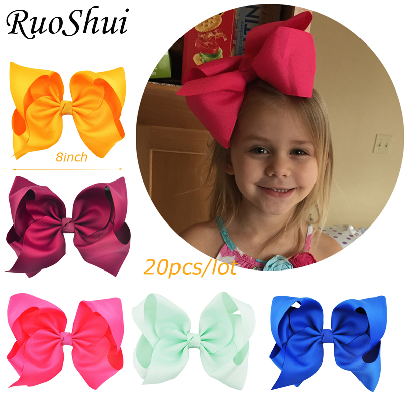 20PCS 8 inch Big Large Hair Bows Alligator Clips Grosgrain Ribbon Hairgrip Bowknot Boutique   Headwear   Girls Hair Accessories