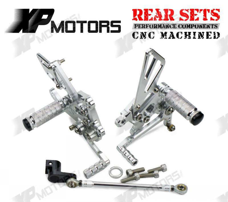 New Silver CNC Adjustable Rearset Footrest Rear Sets Foot pegs For Aprilia RSV4 2009 2010 2011