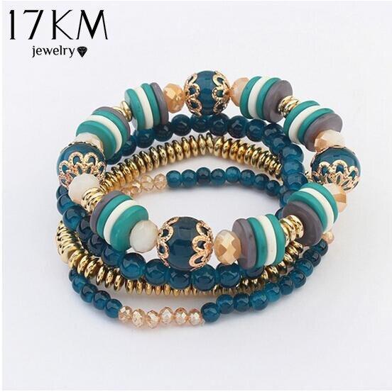 17KM Bohemia Beach Style Brand Jewelry multi layers Bracelet Alloy Color Acrylic
