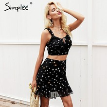 Simplee Strap v neck print sexy dress Two-piece chiffon short summer dresses women 2018 High waist black mini dress(China)