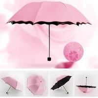 Windproof Umbrella Rain Women Color Changing Umbrella Sunshade Folding Umbrella Parasol Bloom Flower Pocket Umbrella Gift