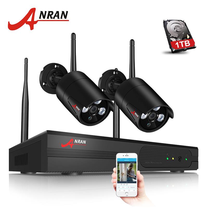 ANRAN 4CH CCTV System Wireless NVR Kit With P2P Cloud View 2PCS 960P HD IP Camera