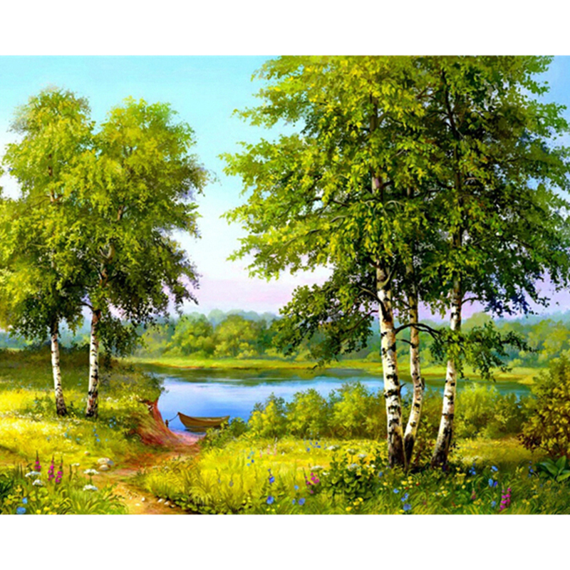 5D diy diamond embroidery painting forest river scenery Cross Stitch full square Rhinestone mosaic decor diamond pattern arts