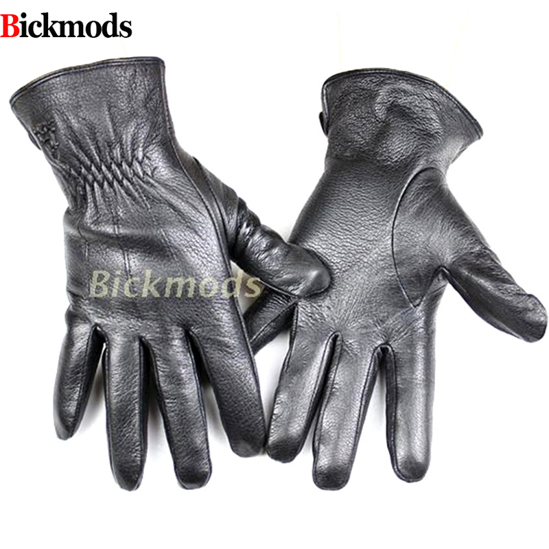 Men's Deerskin Gloves Fashion Style Striped Cashmere Lined Leather Gloves Thin Autumn And Winter Cold And Warm Free Shipping