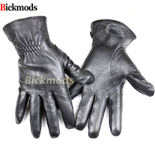 Mens deerskin gloves fashion style striped cashmere lined leather thin autumn and winter cold warm mitts shipping