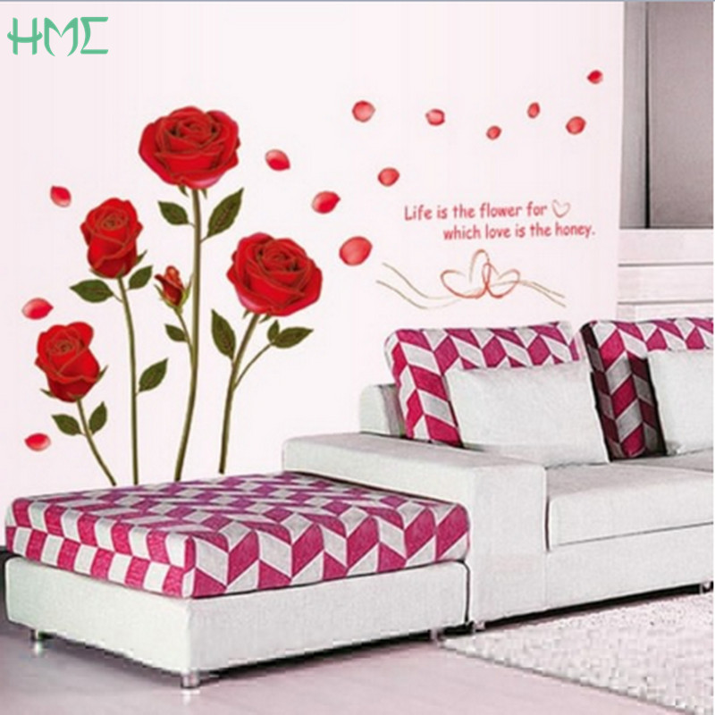 New Arrival Red Rose Wall Stickers Vinyl Wall Stickers Home Living Room -6836
