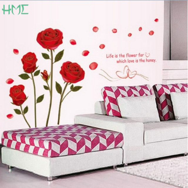 New Arrival Red Rose Wall Stickers Vinyl Wall Stickers Home Living Room Bedroom Hotel Office Decoration Wall Stickers