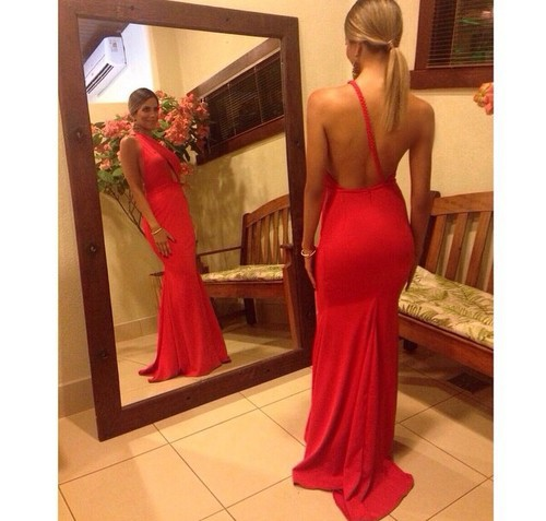 2018 Mermaid Prom Sexy One Shoulder Sleeveless Backless Sweep Train Chiffon Red Party gown cheap simple   bridesmaid     dresses