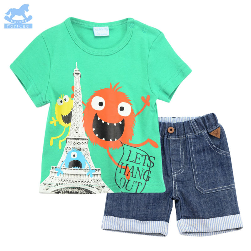 Luvena Fortuna 2pcs Baby Boys&Girls children kids 2-Piece T-shirt & shorts Set H9626&H9627 baby clothes bebe comfort products