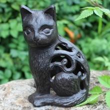 Antique Black Cast Iron Hollow Cat Figurines Home Garden Dec