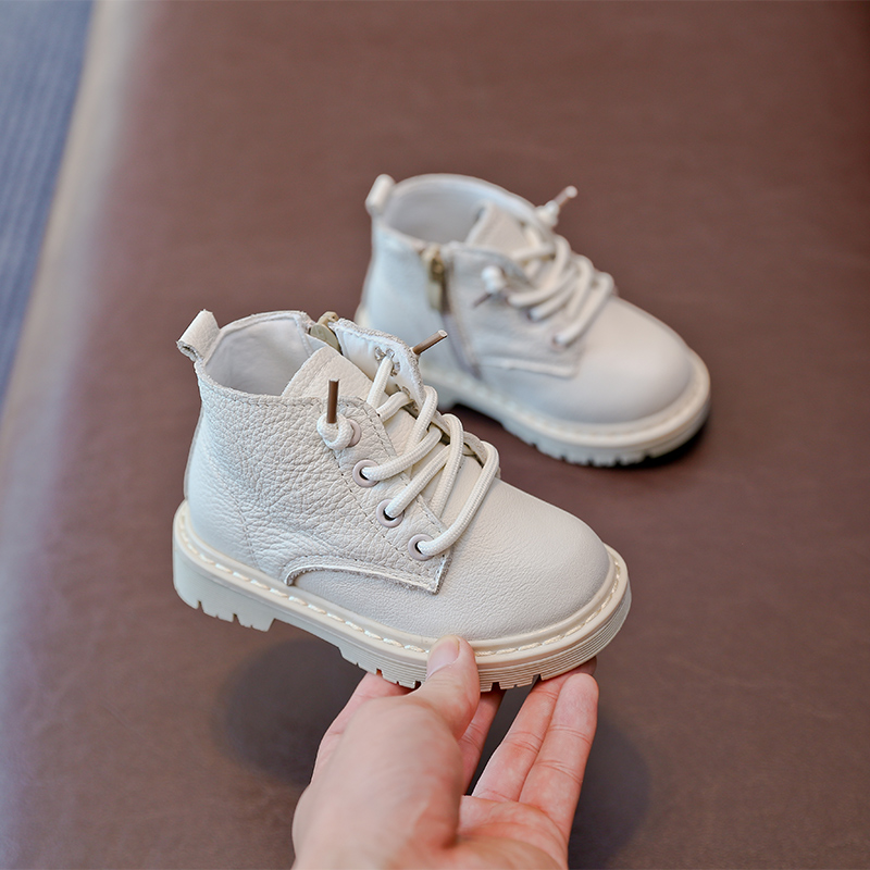Baby Boots Genuine Leather Kids Boots Lace-up Children Snow Boots Velvet Warm Winter Shoes