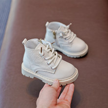 Baby Boots Genuine Leather Kids Boots Lace-up Children Snow Boots Velvet Warm Winter Shoes(China)