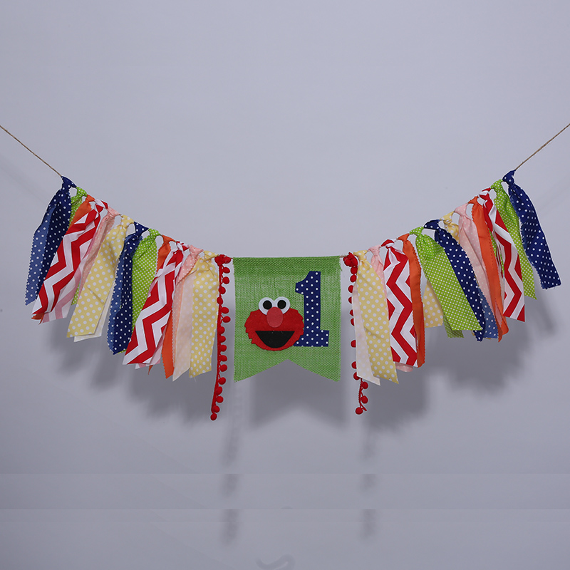 Free shipping Handmade CookieMonster Party Highchair Bunting Perfect Burlap Baby Room Garlands Polka Dots banner birthday