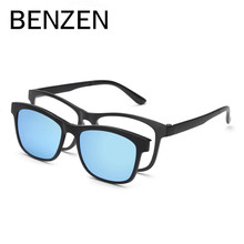 BENZEN Men Polarized Magnetic Clip Glasses TR Male Driving Clip On Sunglasses Magnet Myopia Glasses Frame With Case 9139