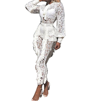 Sexy Sheer White Lace Jumpsuits Woman Lantern Sleeve Ruffles See Through Party Jumpsuits Silm One Piece Long Pants Rompers