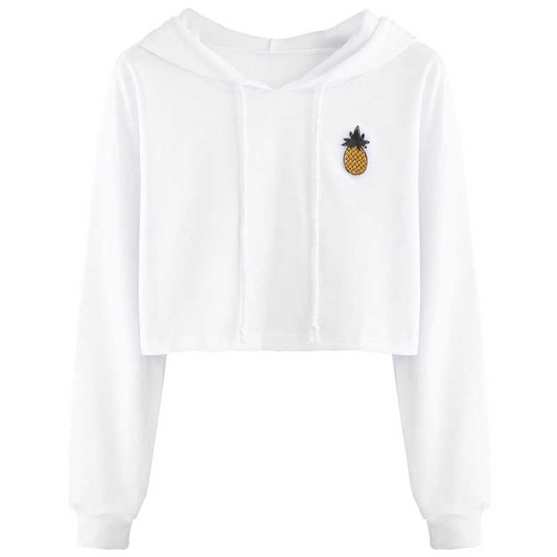Women Cotton Cute Crop Top Printed Hoodie Pullover Top Sweatshirt Teen Girls Female New Fashion White Tops Plus Size