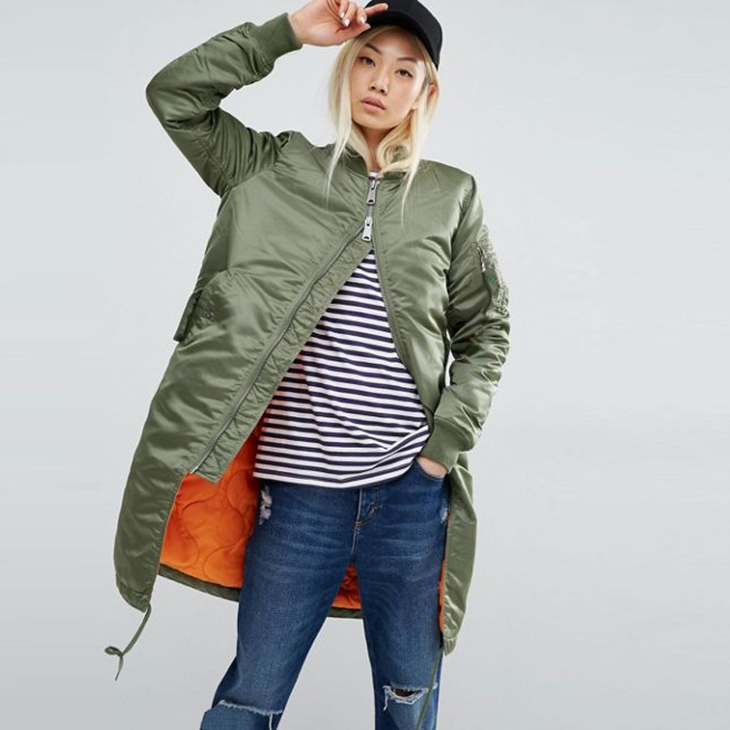 Winter long jackets and coats spring female coat casual military olive green bomber jacket women basic jackets plus size 153 in Jackets from Women 39 s Clothing