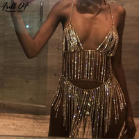 Sexy Metal Chain Crystal Diamonds Women Dress Summer Tassel Sequins Sparkling 2 Two piece Luxury Nightclub party Dresses vestido