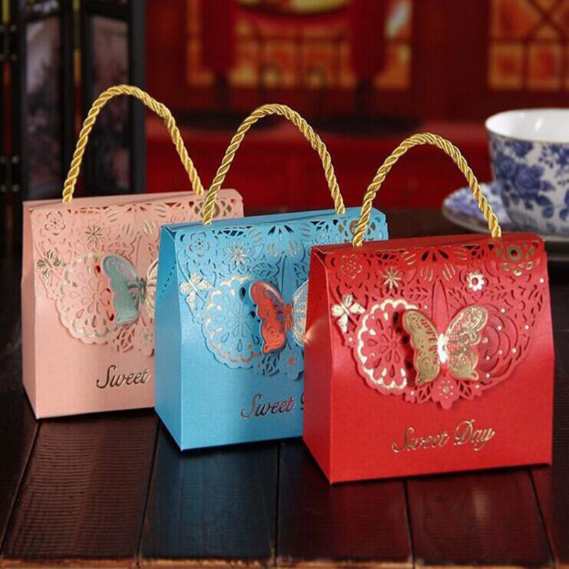 100pcs Wedding Candy Bag Dessert Decoration Butterfly Flower Candy Bag Decoration Mariage Beautiful Paper Bag Deliver by DHL ...