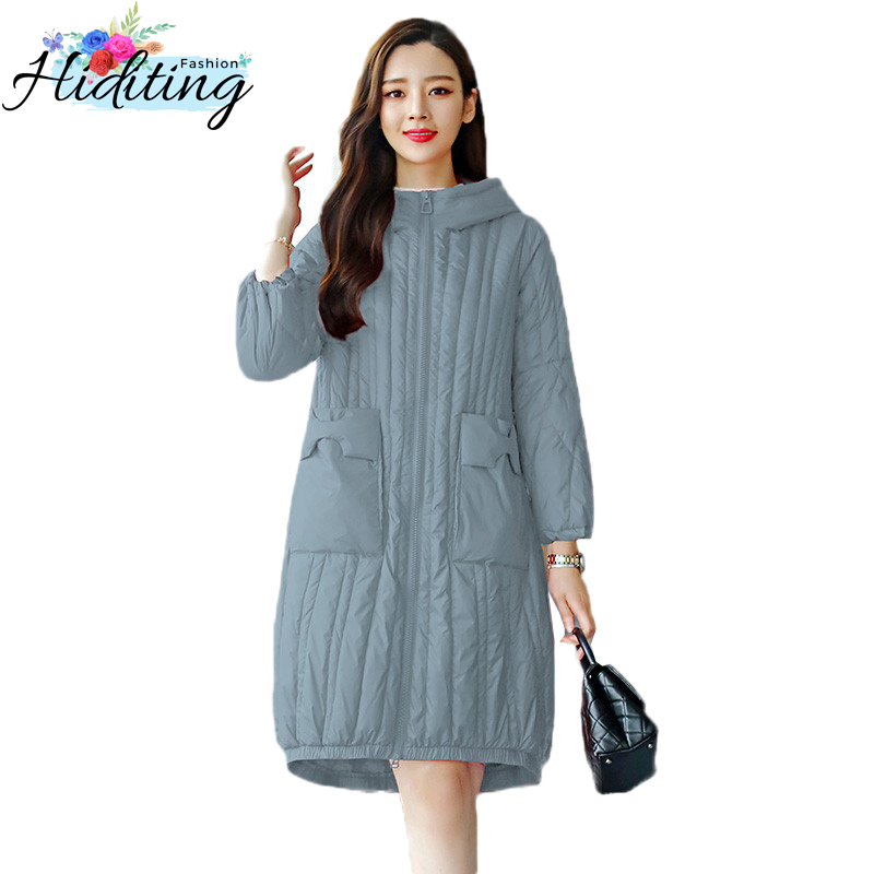 Women   Down   Jackets Winter 2019 New Fashion Warm Hooded Overcoat Solid color Female Jacket Medium long White Duck   Down     Coat   WIN55