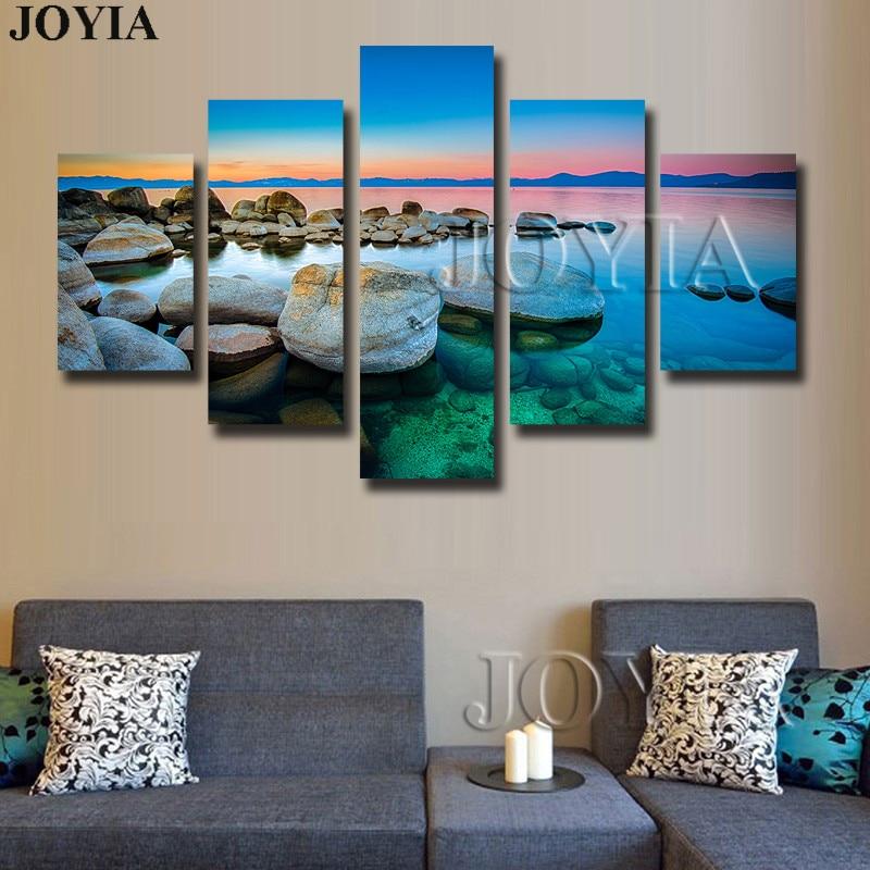 ヾ(^▽^)ノ5 unidades paisaje marino lienzo pinturas de pared ...
