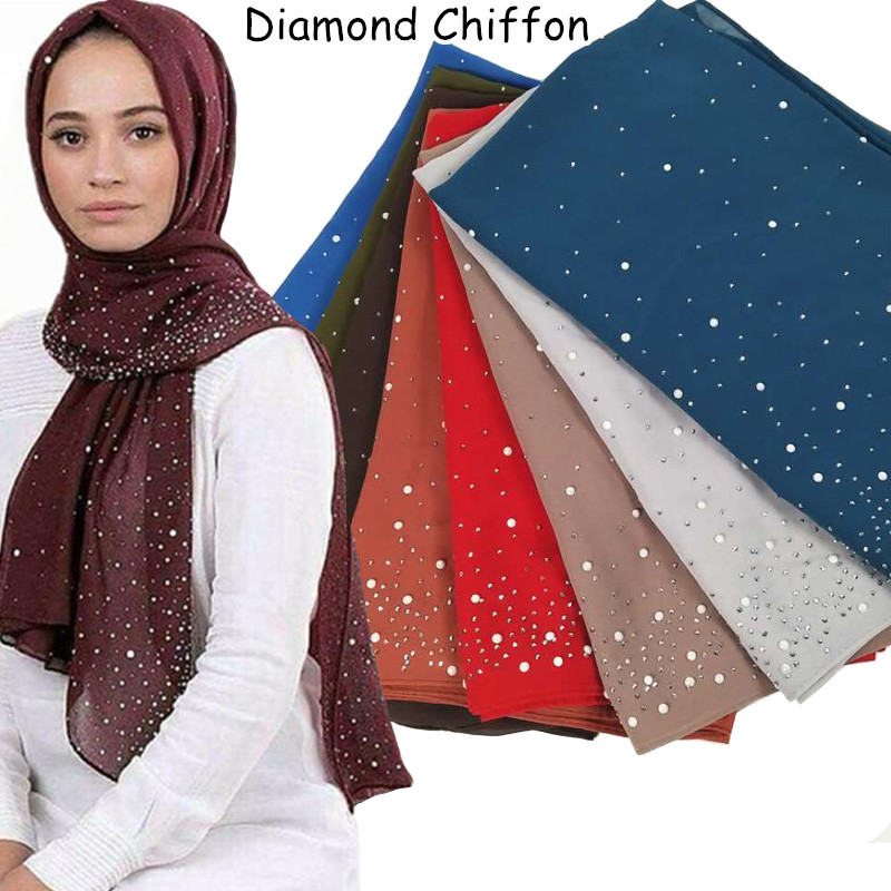 Z70 Women solid color bubble chiffon diamond shawls   scarf   hijab   scarf   headband   wrap   fashion muslim   scarves  /  scarf   180*75 cm