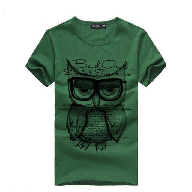 FEITONG erkek T Shirt Yaz Baskı Baykuş Tees Gömlek Kısa Kollu Erkekler için Giysi mevcut erkek arkadaşı için toptan # e0