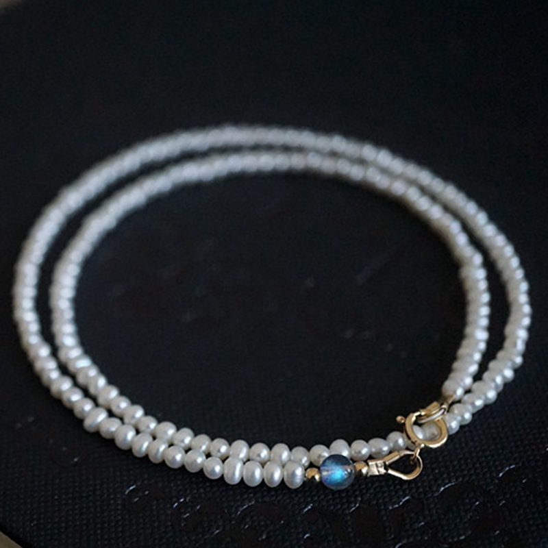 LiiJi Unique Naturel AA D'eau Douce Pearl Environ 4-5mm, labradorite 6mm perles 925 Sterling Fermoir En Argent Collier Ras Du Cou 40 cm/45 cm