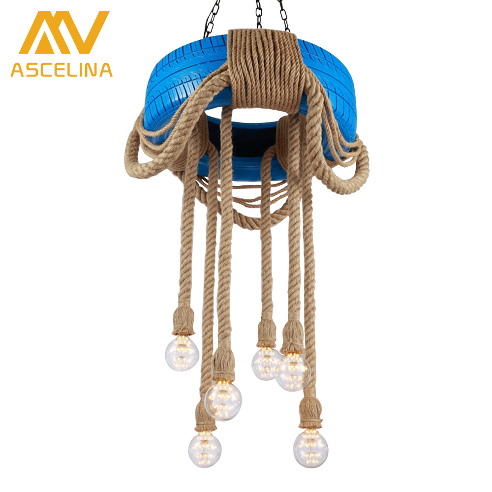ASCELINA Loft Car tire Pendant Lighting Tyre Retro American Country Dining Light Living Rope Lamp Vintage Industrial Hemp ascelina vintage wicker pendant lamp hand knitted hemp rope iron pendant light loft lamps american lighting edison bulb for home