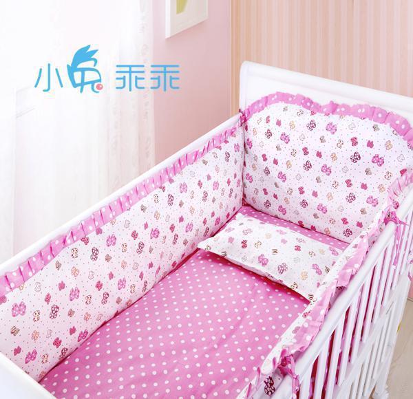 Promotion! 6PCS Cute Baby Bumper Set,Cradle Bedding,100% Cotton Crib Bumper Sheet For Kids (bumper+sheet+pillow cover)