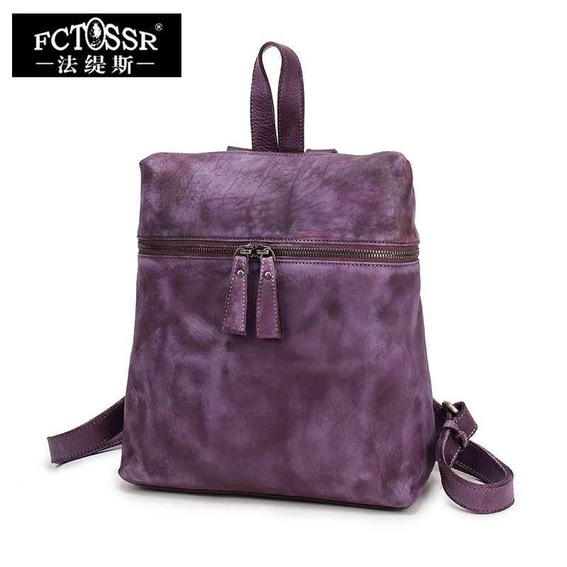 2017 New Handmade Retro Leather Backpack Leisure Simple First Layer of Leather Women's Backpack