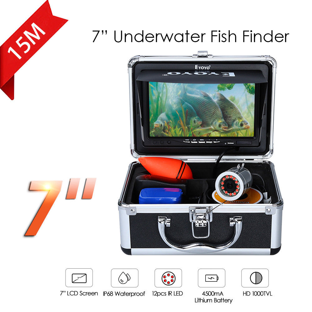 Eyoyo 7Color Fish Monitor 15m Professional Fish Finder Underwater Ice Fishing Camera 1000TVL HD Silver Cam Infrared For Fishing eyoyo 80m professional underwater ice fishing camera night vision fish finder 7 monitor 1000tvl hd cam 12pcs infrared led