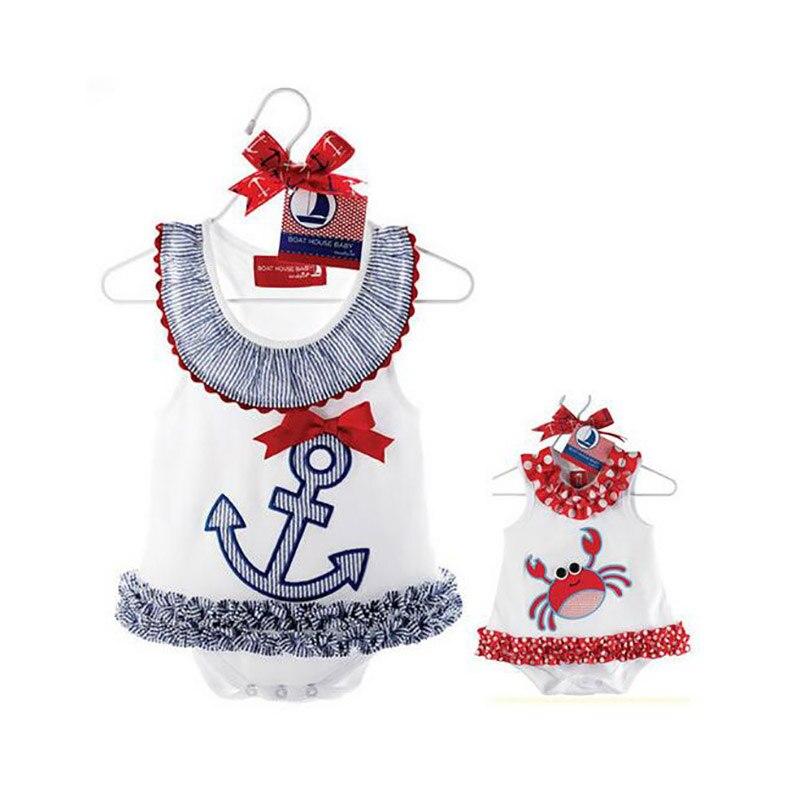 Baby Rompers Infantil Girl Dress Romper Summer Newborn Boat Anchor Sailor Dress Romper Bebe Infant Clothing Costume Jumpsuit