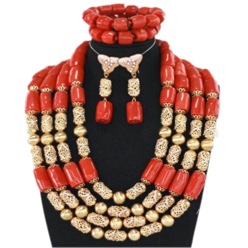 New Nature Coral Beads Jewelry Sets Nigerian Wedding Bridal Necklace Set for Women Plated Gold Color Jewellery Set Free Shipping plated gold jewelry sets four leaf clover necklace jewellery set best gifts for friends and lovers