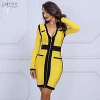 Adyce 2019 High Quality Summer Bandage Dress Women Yellow&Black V Neck Long Sleeve Dress Celebrity Evening Party Dress Vestidos
