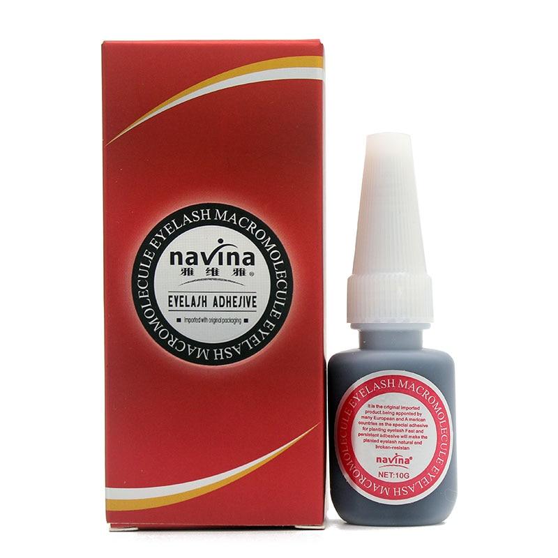 купить 10pcs/Lot Navina 10g Professional Makeup Eyelash Macromolecule Adhesive Glue for False Eye Lashes Extension Beauty Black Glue по цене 3875.86 рублей