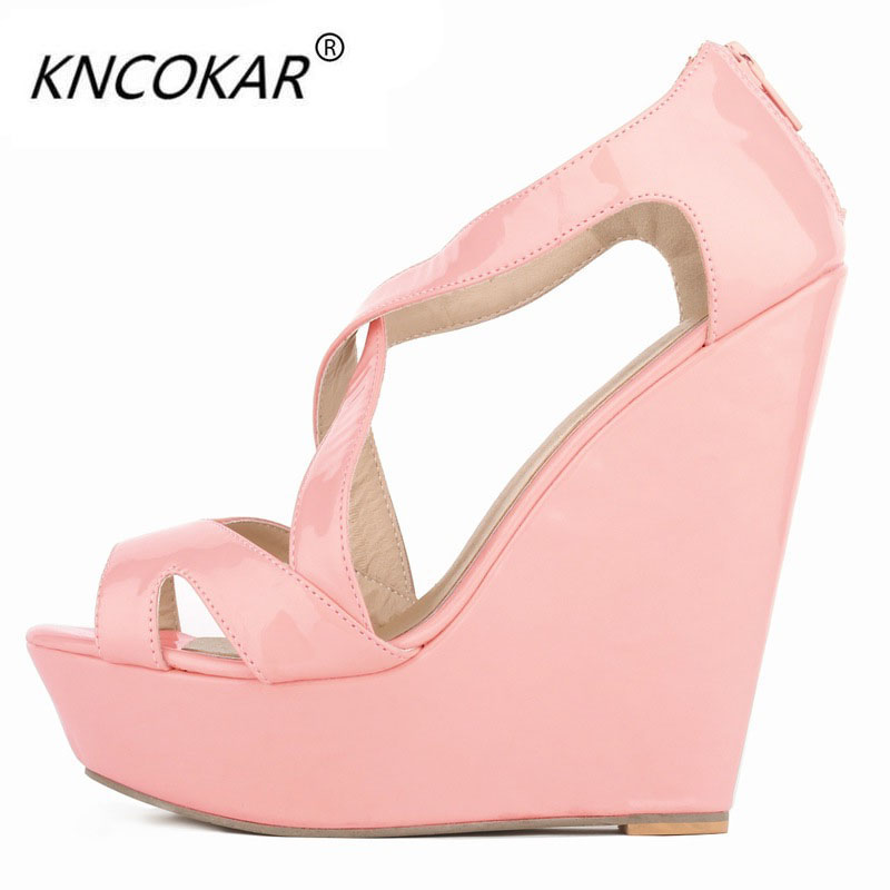2017 newplatform wedges womens paint waterproof table fish mouth high-heeled sandals star with money