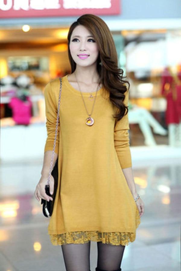 Vestido de lã primavera, as mulheres e outono de lã de uma peça de médio longo camisola camisola ocasional vestido de inverno
