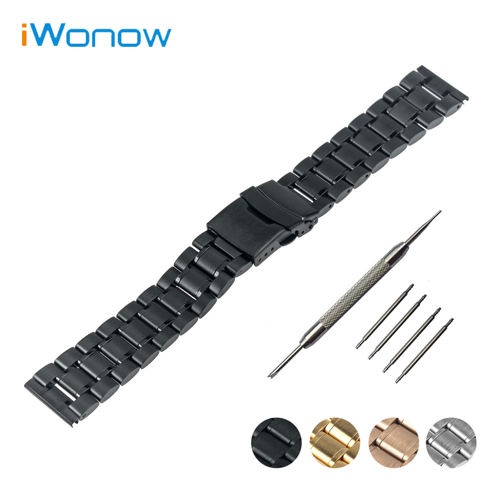 Stainless Steel Watch Band 16mm 18mm 20mm 22mm 24mm for Fossil Safety Buckle Strap Wrist Belt Bracelet Black Rose Gold Silver 20mm 22mm 24mm 26mm black stainless steel buckle for watch strap band free shipping