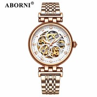 ABORNI Luxury Skeleton Women Mechanical Watches Automatic Classic Gold Ladies Watch 2019 Brand Vintage Clock relogio feminino
