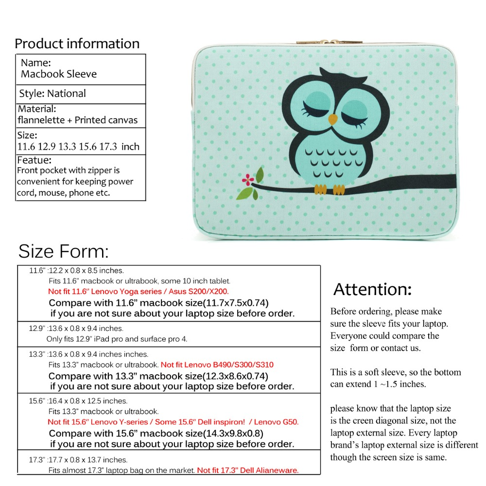 Hot Sale CoolBell 11 6 12 9 13 3 15 6 Inch Women Laptop Sleeve Case Cover  With Cute Owl Pattern Laptop Sleeve For Macbook Pro
