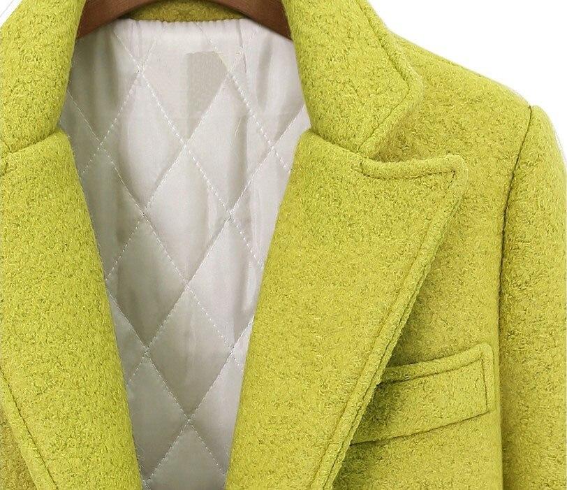 down Streetwear Manteau En Noir Cashmer Et Large jaune À Turn Col Veste Boutonnage Laine Double Taille Femmes Long De 7yYb6gf