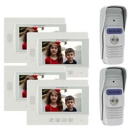 ZHUDELE Home Security Intercom Audio Doorbell for 2 Doors 7 Video Door Phone Doorbell 700TVL IR Camera w/t Waterproof Cover 2V4