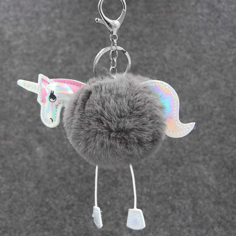 Macio bonito Keychain Unicórnio Para As Mulheres Do Falso Pele De Coelho Bola Pompom De Pele Pom Pom Saco Encantos Chaveiro Cavalo Feminino trinket Presente