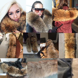 Image 3 - Real Raccoon Fur Collar Luxury Natural Fur 100% Scarf Desigual Scarves Foulard Neck Warmers Hooded Women Winter Down Coat #BF01