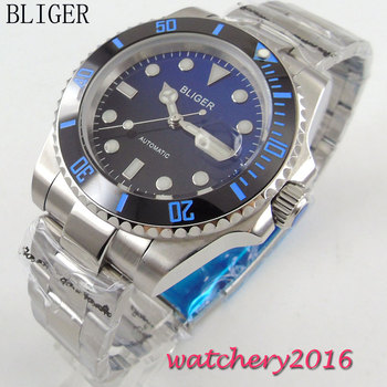40mm Bliger Black Blue Dial ceramic bezel Stainless Steel Sapphire Glass Men's Date window Automatic Movement WristWatch